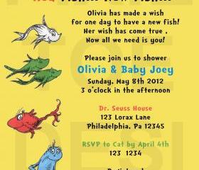 Dr. Seuss New Fish Baby Shower Invitation