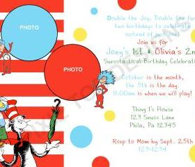 Thing 1 and Thing 2 Birthday Invitation ( Digital File )