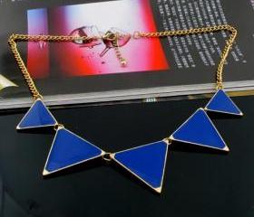 Triangle necklace, Blue triangle necklace, statement necklace, Bib necklace