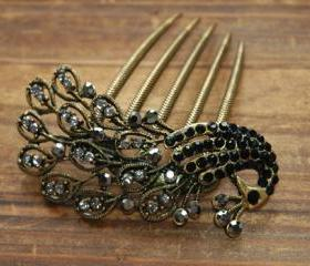 Gold Plated Black Rhinestone Peacock Hair Comb