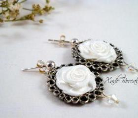 Classic white rosette post earrings