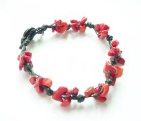 The Cluster - Red Coral Stone Chip Beads Wax Cord Bracelet - Gift under 15