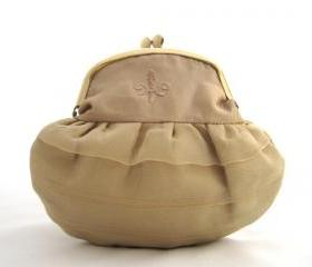 Clutch, Framed Clutch Purse, Taffeta, Gold, Fleur-de-lis