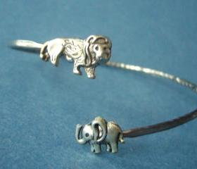 lion wrap bracelet with an elephant