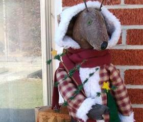 Primitive Old Fashioned Reindeer Santa - Fleece Trimmed Homespun Coat - Appliqued Christmas Tree and Bear