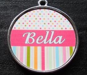 Pink Candy Polka Dot Stripes Pet ID Tag w/ Pet's Name