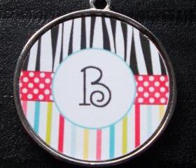 Striped Zebra Initial Pet ID Tag