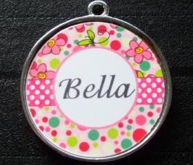 Pink Bubblegum Dot Pet ID Tag w/ Pet's Name