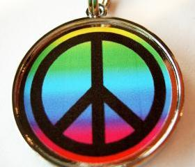 Rainbow Peace Pet ID Tag
