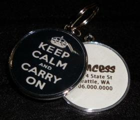 Keep Calm & Carry On Pet ID Tag