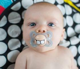 Cute Buck Teeth - Custom Hand Painted Pacifier 0 to 6 Month BLUE
