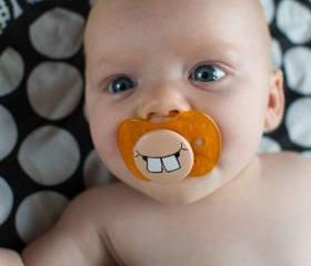 Cute Buck Teeth - Custom Hand Painted Pacifier NUK Style ORANGE