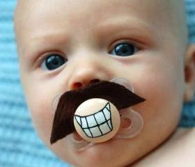Tom Selleck - Hand Cut Custom Mustache Pacifier - Brown