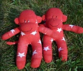 sock monkey, sock monkey doll, sock monkey baby, baby sock monkey, sock monkey twins, twin sock monkeys, red sock monkey, stars