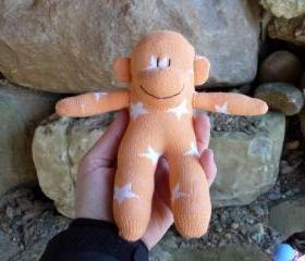 baby sock monkey, sock monkey baby, small sock monkey, tiny sock monkey, sockmonkey, handmade sock monkey, babysafe sock monkey