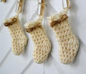 Mini Stocking Ornament-Wool-Creamy white