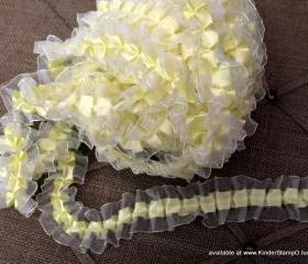 2 yards - Organza and Satin Ribbon Trim - Canary Yellow 
