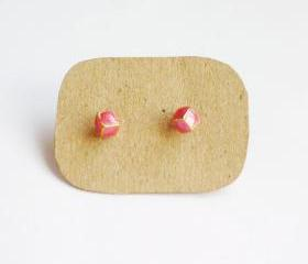 SALE - Lil Pink Red Cubic Cube Ear Stud Earrings - Gift under 10