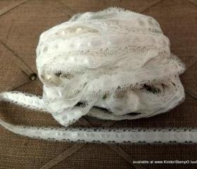 3 yards - Satin Ribbon and Lace Trim - Marshmallow (Ivory)