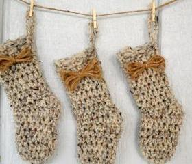 Small Stocking-Ornament-Possible Advent Calendar-Home Decor-Birch Tweed