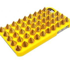 Gold Studded Spike iPhone 4 Case, Studded Punk iphone 4G case, Yellow iphone 4 case, Spike Punk iphone 4S case
