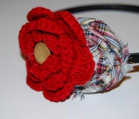 Plaid Rosette Crochet Flower headband for baby girls toddlers women christmas holiday dressy
