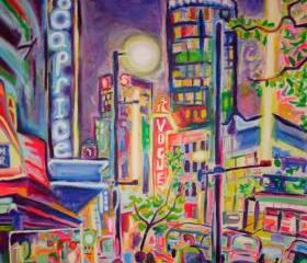 ORIGINAL Acrylic Painting - Granville At The Warehouse - Large 36x48 Colorful City Buildings art - FREE SHIPPPING