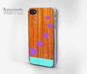 iphone5 case Colorful Wood & Stars Print - plastic - GeometricCool iPhone Cases- Cool iPhone Cases