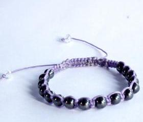 Magnetic Hematite & Wax Thread Square Knot Bracelet / Healing Stones Shamballa Bracelet / Healing Inspired - Gift under 15 - Adjustable