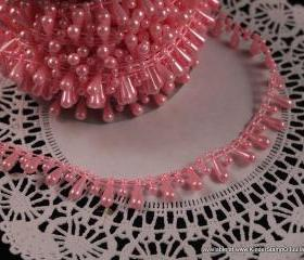 3 yards - Teardrop Pearls - Cotton Candy Pink