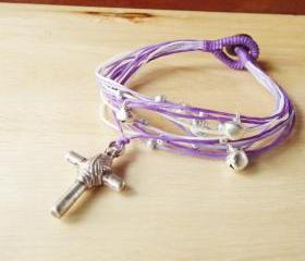Cross in Violet Tone String Bangle - waxed cord bracelet