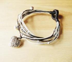 Silver Plate Filigree Heart in Ivory white Tone - Multi String Bangle - waxed cord bracelet