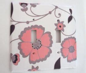 Double Switchplate Cover in Pink and Gray Floral Pattern