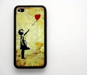 Vintage Banksy Girl iPhone 4 and iPhone 4S Rubber Case