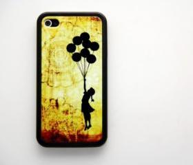 Vintage Banksy Balloon Girl iPhone 4 and iPhone 4S Rubber Case