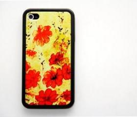 Vintage grunge red floral iPhone 4 and iPhone 4S Rubber Case