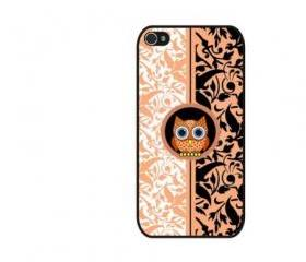 Damask pattern with owl iPhone 4 and iPhone 4S Rubber Case