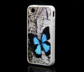 Close-up Butterfly Blue iPhone 4 and iPhone 4S Rubber Case