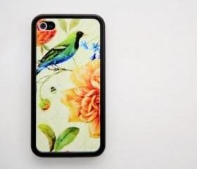Vintage floral with bird iPhone 4 and iPhone 4 Rubber Case