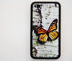 Close-up Butterfly Orange iPhone 4 and iPhone 4S Rubber Case