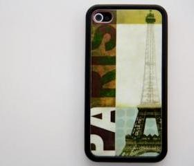 Retro Paris Eiffel Tower iPhone 4 and iPhone 4S Rubber Case