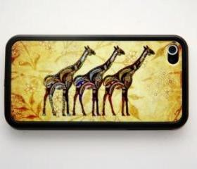 Vintage Giraffe iPhone 4 and iPhone 4S Rubber Case