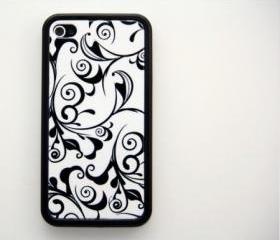 Black and White Floral Pattern iPhone 4 and 4S Rubber Case