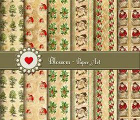 Christmas Digital Paper - Collage Sheet - Vintage Images - Printables - Scrapbooking - DIY - Scrapbook - Download - 1561