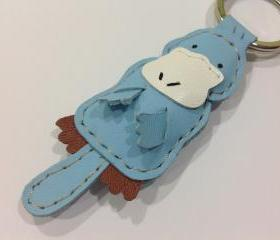 Platypus leather keychain ( Light blue )