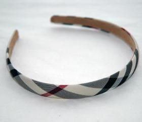 Beige Checked Headband, 1cm