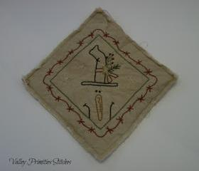 Snowman Candle Mat, Hand Stitched, Primitive