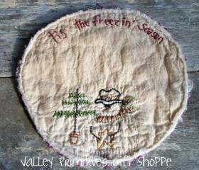 Snowman Candle Mat, Freezin Season, Hand Stitched, Winter