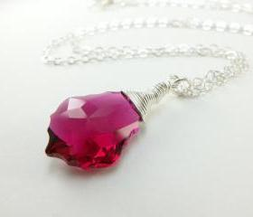Ruby Red Necklace Wire Wrapped Crystal July Birthstone Necklace Sterling Silver Jewelry Bridal Wedding Bridesmaid