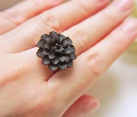Black Dahlia Ring. Silver Adjustable Ring. Elegant. Matte Black Gothic